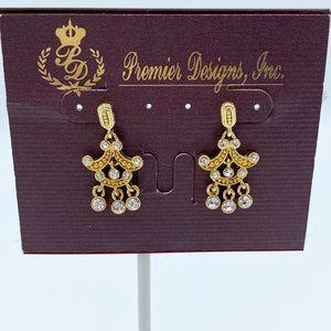 Premier Designs Anna Gold Plate Crystal Chandelier